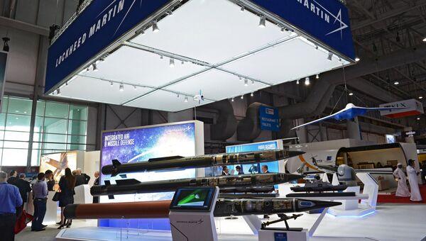 Стенд американской компании Lockheed Martin Corporation на Международной авиационно-космической выставке Dubai Airshow 2017