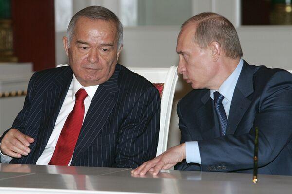 Премьер РФ Владимир Путин и президент Узбекистана Ислам Каримов. Архив