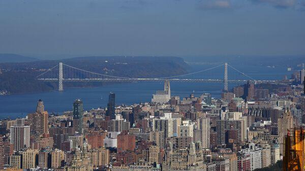 Вид на пролив Гудзон в Нью-Йорке. Архивное