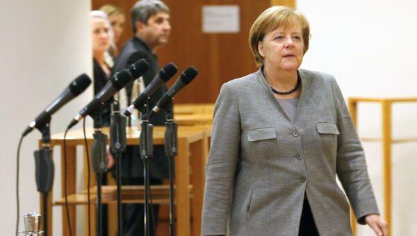 Ангела Меркель во время переговоров о формировании коалиционного правительства в Берлине. 19 ноября 2017