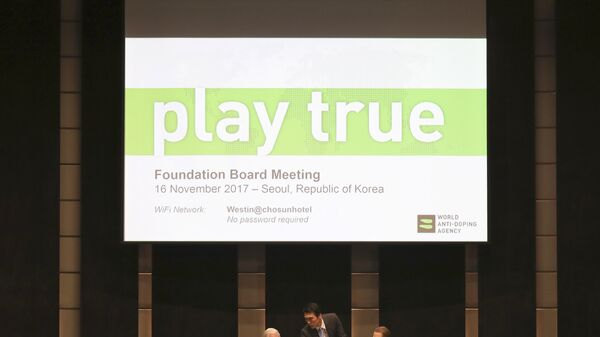 Глава Всемирного антидопингового агентства Крейг Риди на заседании WADA в Сеуле. 16 ноября 2017
