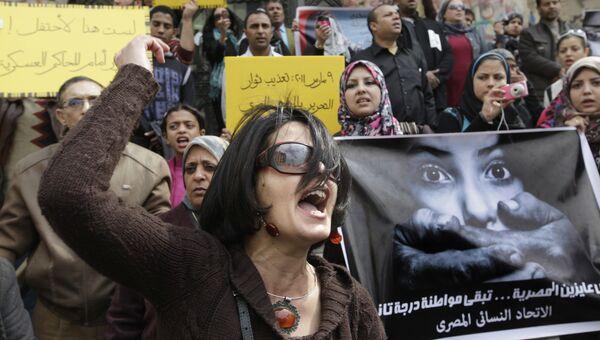 Акция протеста против тестов на девственность в Каире. Архивное фото