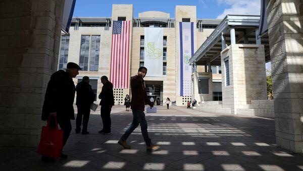 Флаги США и Израиля на здании муниципалитета в Иерусалиме
