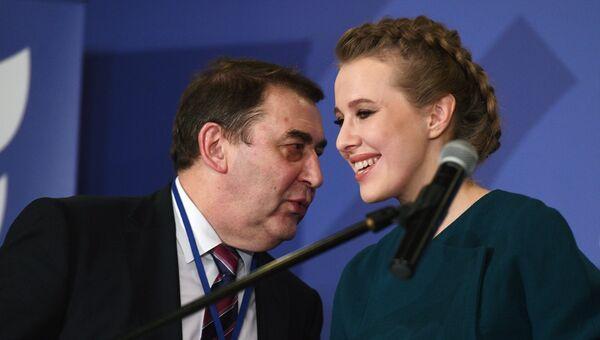 Председатель партии Гражданская инициатива Андрей Нечаев и телеведущая Ксения Собчак на съезде партии Гражданская инициатива. 23 декабря 2017