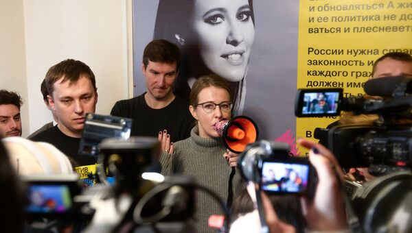 Ксения Собчак во время встречи с избирателями в Бердске