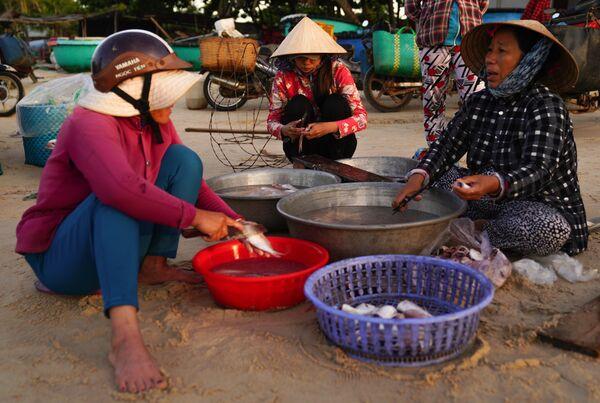 Местные жители разделывают рыбу на берегу в деревне Ке Га во Вьетнаме