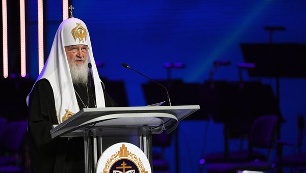 Патриарх Московский и всея Руси Кирилл выступает на открытии XXVI Международных Рождественских чтений. 24 января 2018