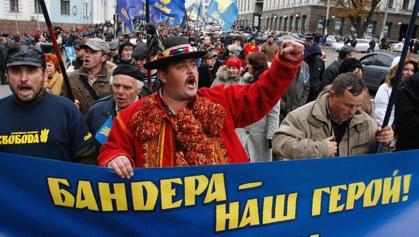 Во время марша националистов в честь годовщины Украинской повстанческой армии (УПА) в Киеве