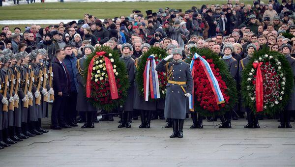 Торжественно-траурная церемония возложения венков на Пискаревском мемориальном кладбище, посвященная 74-й годовщине полного освобождения Ленинграда от фашистской блокады. 27 января 2018
