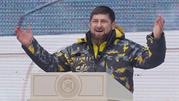 Глава Чеченской Республики Рамзан Кадыров выступает на церемонии открытия горнолыжного курорта Ведучи в Итум-Калинском районе Чеченской Республики. 26 января 2018
