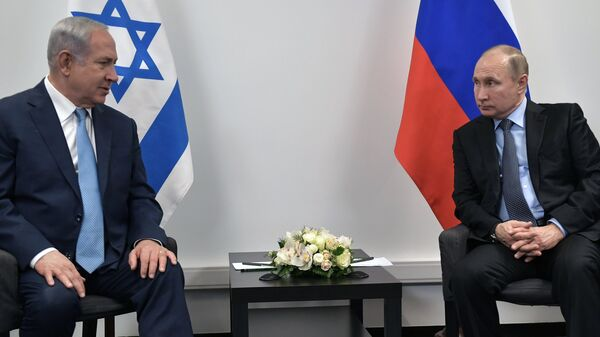 Владимир Путин и премьер-министр Государства Израиль Биньямин Нетаньяху во время встречи в Еврейском музее и центре толерантности. 29 января 2018