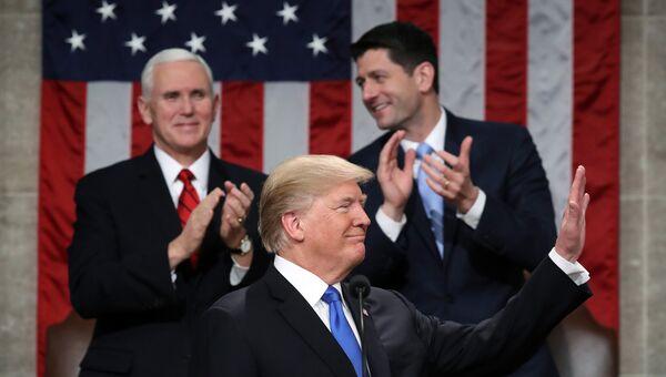 Дональд Трамп выступает в конгрессе с обращением О положении страны. 30 января 2018