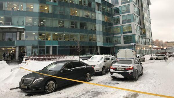 Обстановка у бизнес-центра Святогор-4 в центре Москвы, где произошло покушение на предпринимателя. 31 января 2018