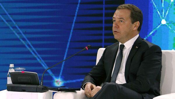 Дмитрий Медведев на пленарной сессии международного форума Цифровая повестка дня в эпоху глобализации в Алма-Ате. 2 февраля 2018 2февраля 2018