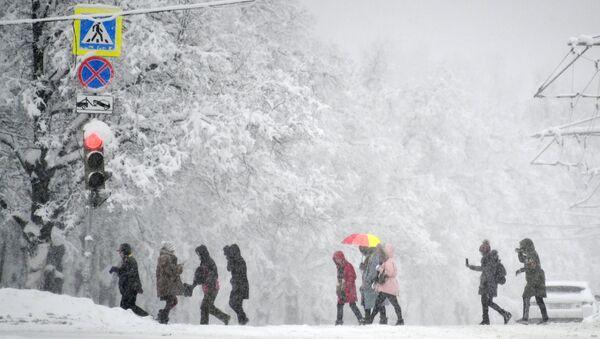 Люди на пешеходном переходе на Воробьевых горах во время снегопада