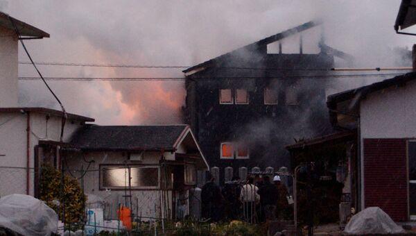 Последствия крушения вертолета воздушных сил самообороны Японии в городе Кандзаки. 5 февраля 2018
