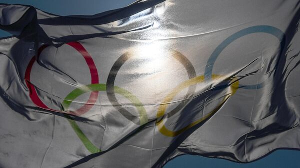 Олимпийский флаг в Олимпийском парке Хвэнге в Пхенчхане