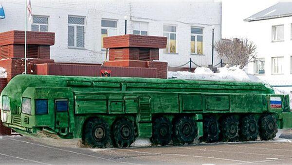 Тополь-М из снега, сделанный заключенными исправительной колонии № 6 в Омской области