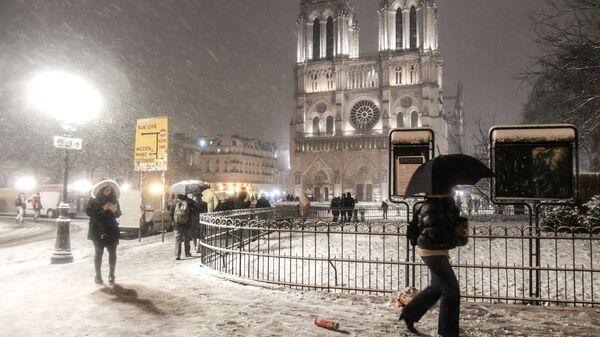 Прохожие возле собора Парижской Богоматери (Notre-Dame de Paris) во время снегопада в Париже