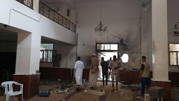 На месте взрыва в мечети в Бенгази. 9 февраля 2018