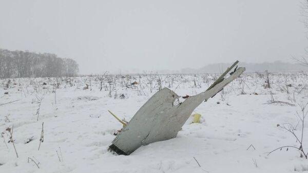 Обломки на месте крушения самолета Ан-148 авиакомпании Саратовские авиалинии в Московской области. 11 февраля 2018