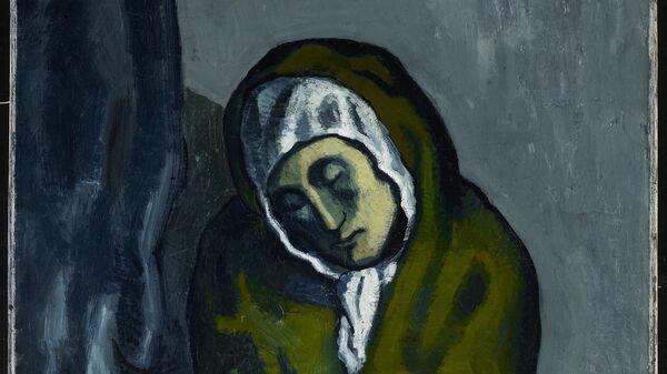 Картина Пабло Пикассо Нищенка, сидящая на корточках, 1902