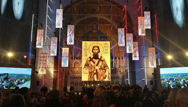 На презентации мозаичного убранства главного купола в белградском храме Cвятого Саввы. 22 февраля 2018