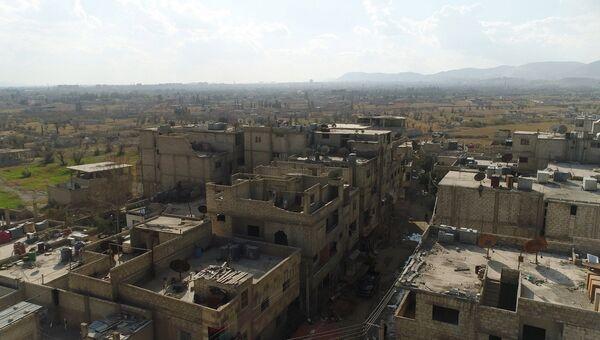 Единственный гуманитарный коридор связывающий восточную гуту с Дамаском. Архивное фото