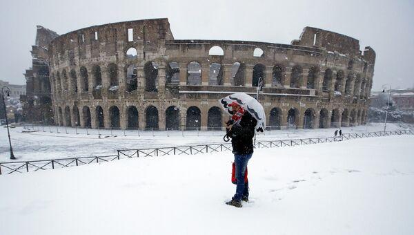Cнегопад в Риме, Италия. 26 февраля 2018