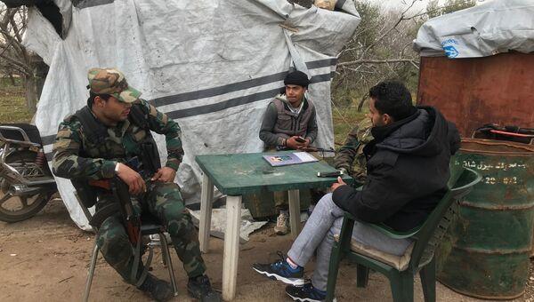 Бывшие боевики воюющие на стороне сирийской армии в провинции Кунейтра , на Голанских высотах ( полк Харамун). 26.02.18