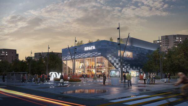 Визуализация кинотеатра Прага на севере Москвы после реконструкции