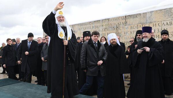 Патриарх Московский и всея Руси Кирилл на торжественной церемонии, посвященной 140-й годовщине освобождения Болгарии от османского ига. 3 марта 2018