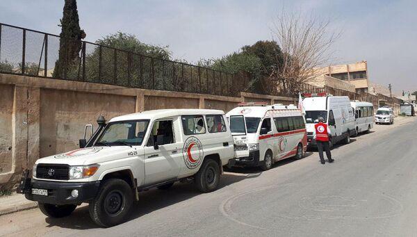 Район гуманитарного коридора в восточном пригороде Дамаска, Сирия. Архивное фото