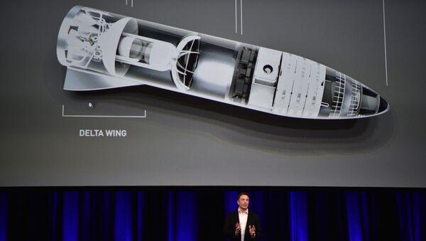 Глава SpaceX Илон Маск во время демонстрации устройства ракеты BFR на Международной астронавтической конференции