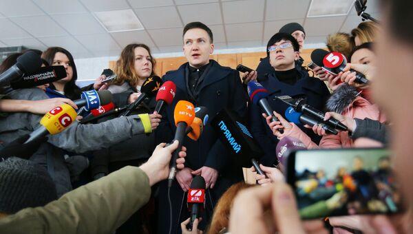 Надежда Савченко во время брифинга в Киеве. 15 марта 2018