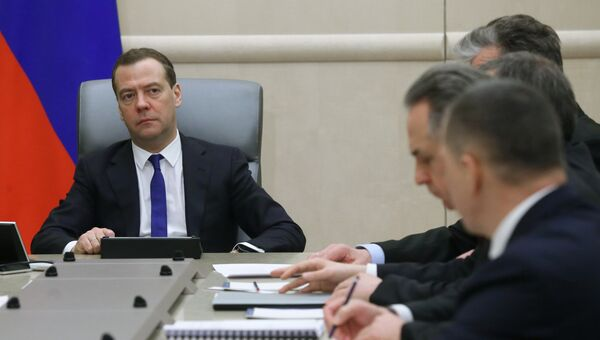 Председатель правительства РФ Дмитрий Медведев проводит совещание с вице-премьерами РФ. 19 марта 2018