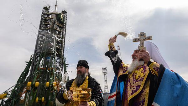 Освящение ракеты-носителя Союз-ФГ с ТПК Союз МС-08 на космодроме Байконур. 20 марта 2018
