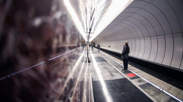 Пассажиры на станции метро Московского метрополитена