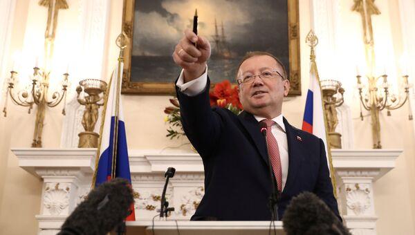 Посол РФ в Великобритании Александр Яковенко на пресс-конференции в Лондоне. 22 марта 2018