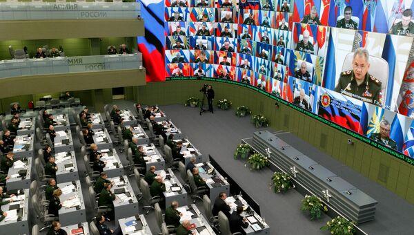 Министр обороны генерал армии Сергей Шойгу провел селекторное совещание с руководством Вооруженных Сил. 2 апреля 2018