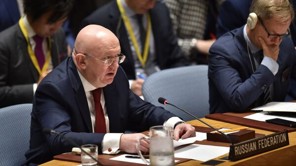 Постпред РФ при ООН Василий Небензя на заседании Совета Безопасности ООН в Нью-Йорке. 14 апреля 2018