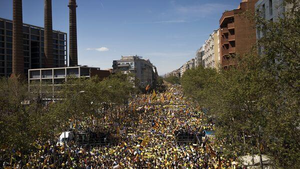 Акция протеста в поддержку каталонских политиков, которые были заключены в тюрьму, Барселона. Архивное фото