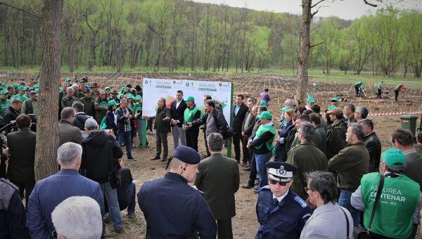 Министр вод и лесов Румынии Иоан Денеш принимает участие в посадке 1918 дубов в память об объединении страны с Молдавией. 17 апреля 2018