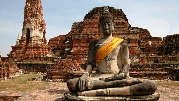Будда на развалинах древних храмов города Аюттхайя