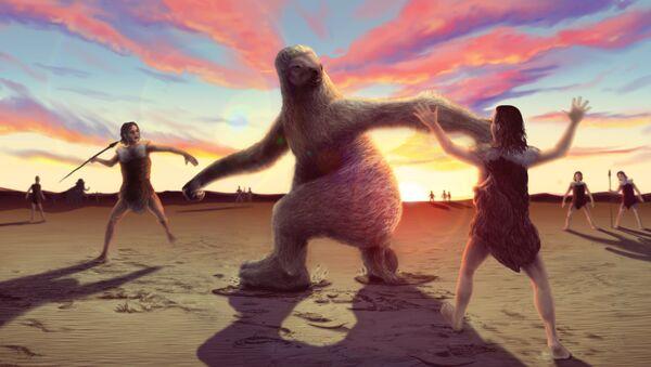 Так художник представил себе предков индейцев, охотившихся на гигантского ленивца