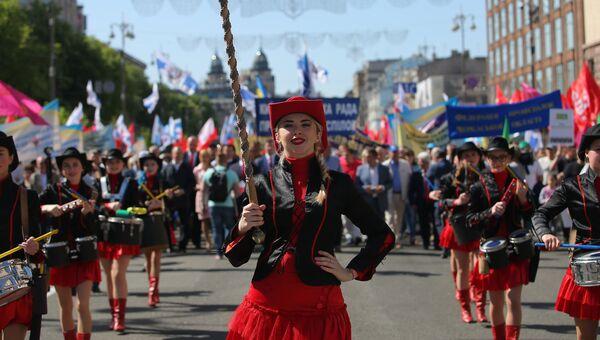 Участники первомайской демонстрации в Киеве