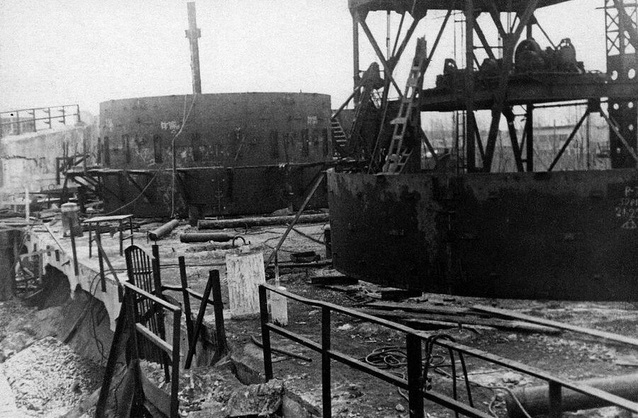 Новолипецкий металлургический завод. Строительство доменной печи номер 1, 1950 год