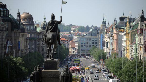 Вид на Вацлавскую площадь в Праге