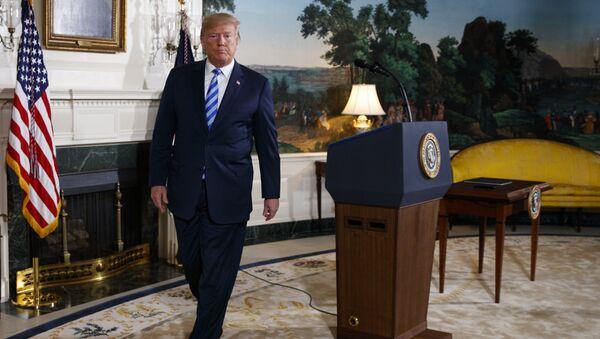 Президент США Дональд Трамп после объявления о расторжении ядерной сделки с Ираном. 8 мая 2018 года
