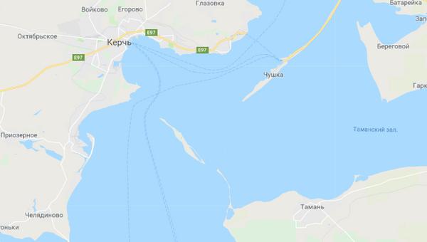 Скриншот карты сервиса Google Maps, на котором нет Крымского моста